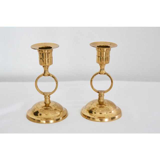 Filigree Polished Brass Candlesticks - A Pair - Image 2 of 5