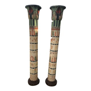 Pair of Hand Painted Egyptian Decorative Columns For Sale