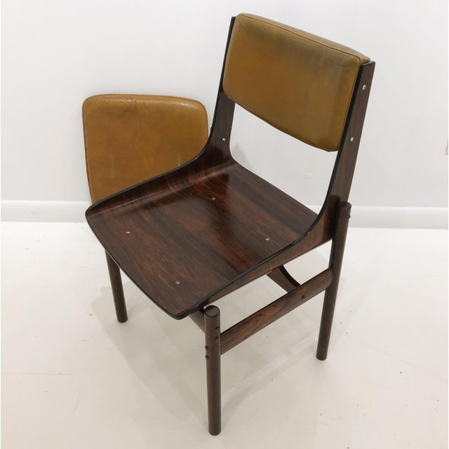 Yellow Jacaranda and Leather Dining Chairs From Brazil - Set of 4 For Sale - Image 8 of 13