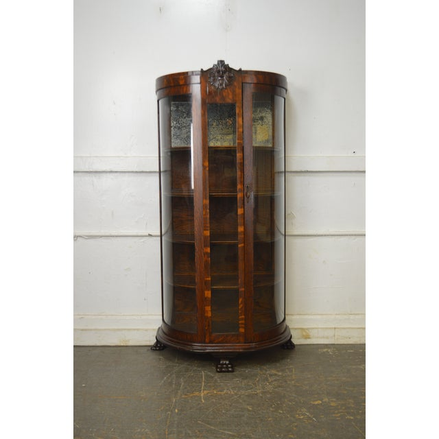 Brown Unusual Antique Oak Bow Glass Small Victorian China Cabinet For Sale - Image 8 of 13
