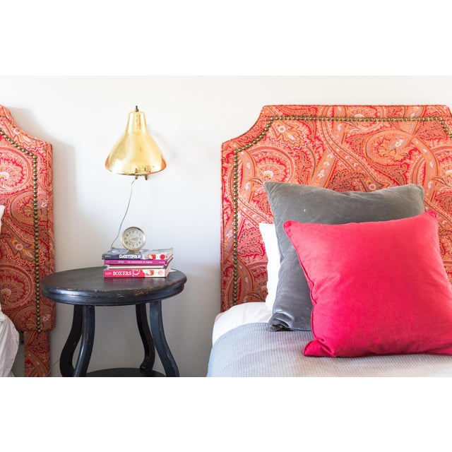 Twin paisley red Ralph Lauren headboards with antiqued brass nail head trim. Used in my boys' room and they have outgrown!...