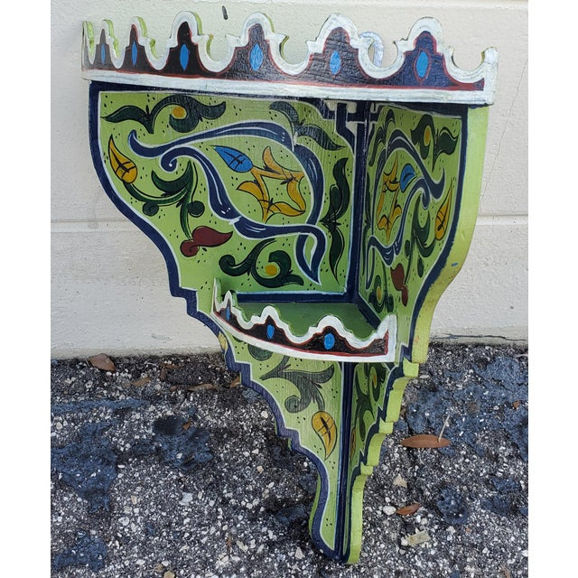 Moroccan Hand Painted Wooden Corner Shelf For Sale - Image 4 of 7