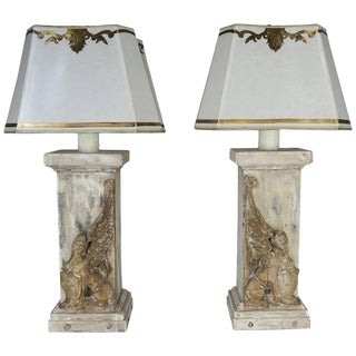 Pair of 19th C. Italian Carved Sphinx Lamps W/ Parchment Shades For Sale