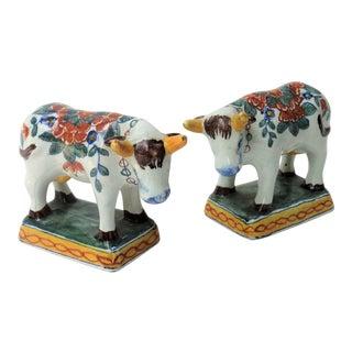 Antique Faience Dutch Delft Cows, Set of 2