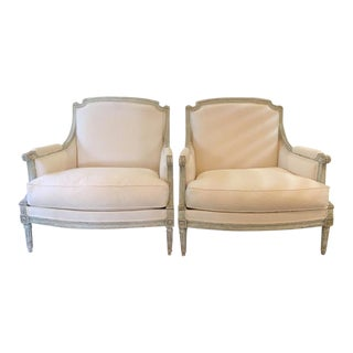 Pair of 19th C Louis XVI Style Bergeres For Sale