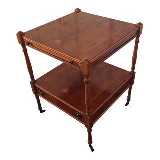 1970s Vintage English Cherry Wood Rolling Bar For Sale