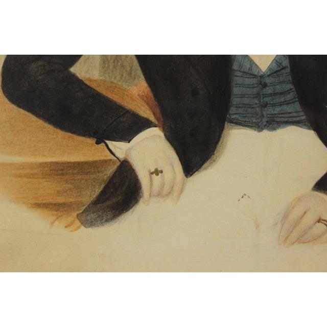 Portraiture Young Gentleman Watercolor For Sale - Image 3 of 5