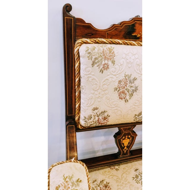 English Edwardian Adam Style Marquetry Salon Settee For Sale - Image 9 of 13