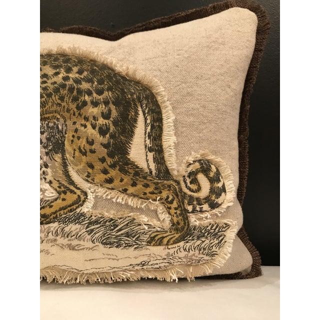 Safari Linen & Cotton Applique Cheetah Pillow For Sale - Image 4 of 9