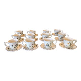 Gien Oiseaux De Paradis Tea Cups and Saucers - Set of 9 For Sale