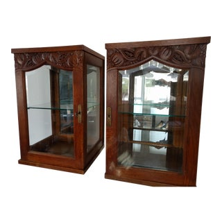 Late 19th Century Oak Cabinets - A Pair