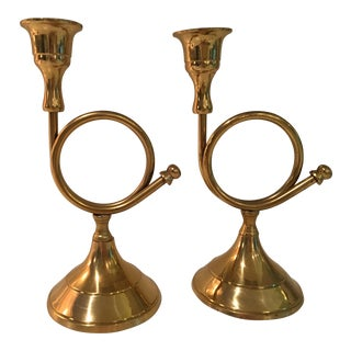 20th Century Traditional Brass French Horn Candleholders - a Pair For Sale