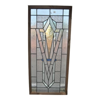 Vintage English Art Deco Style Leaded Stained Glass Window For Sale