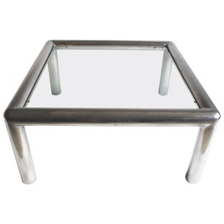 "Aluminum and Glass ""Tubo"" Coffee Table by John Mascheroni For Sale"