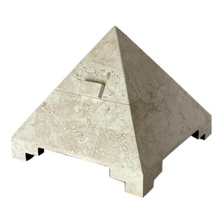 1980s Postmodern Tessellated Pyramid Stone Box For Sale