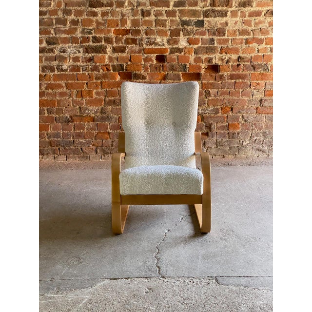 1940s Vintage Alvar Aalto Model 401 Cantilever Lounge Chair in Bouclé by Finmar For Sale - Image 6 of 12