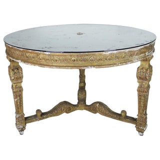 Italian Neoclassical Style Giltwood Center Table With Mirrored Top For Sale