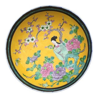 Chinese Yellow Famille Juane Prunus Footed Bowl For Sale