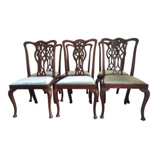 Antique English 1870s Mahogany Chippendale Chairs - Set of 6
