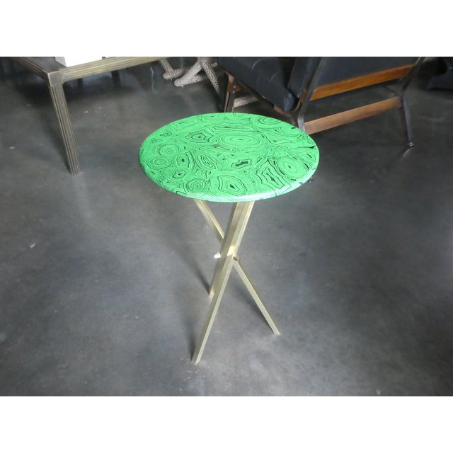 1960s Mid Century Faux Malachite Fornasetti Side Table For Sale In Miami - Image 6 of 10
