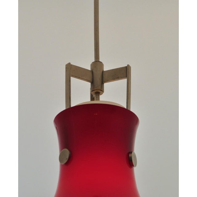 Venini Studio Venini Red Pendant, Murano Italy 1950s For Sale - Image 4 of 6