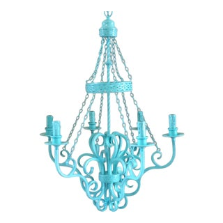 Wrought Iron Vintage 6-Light Chandelier For Sale
