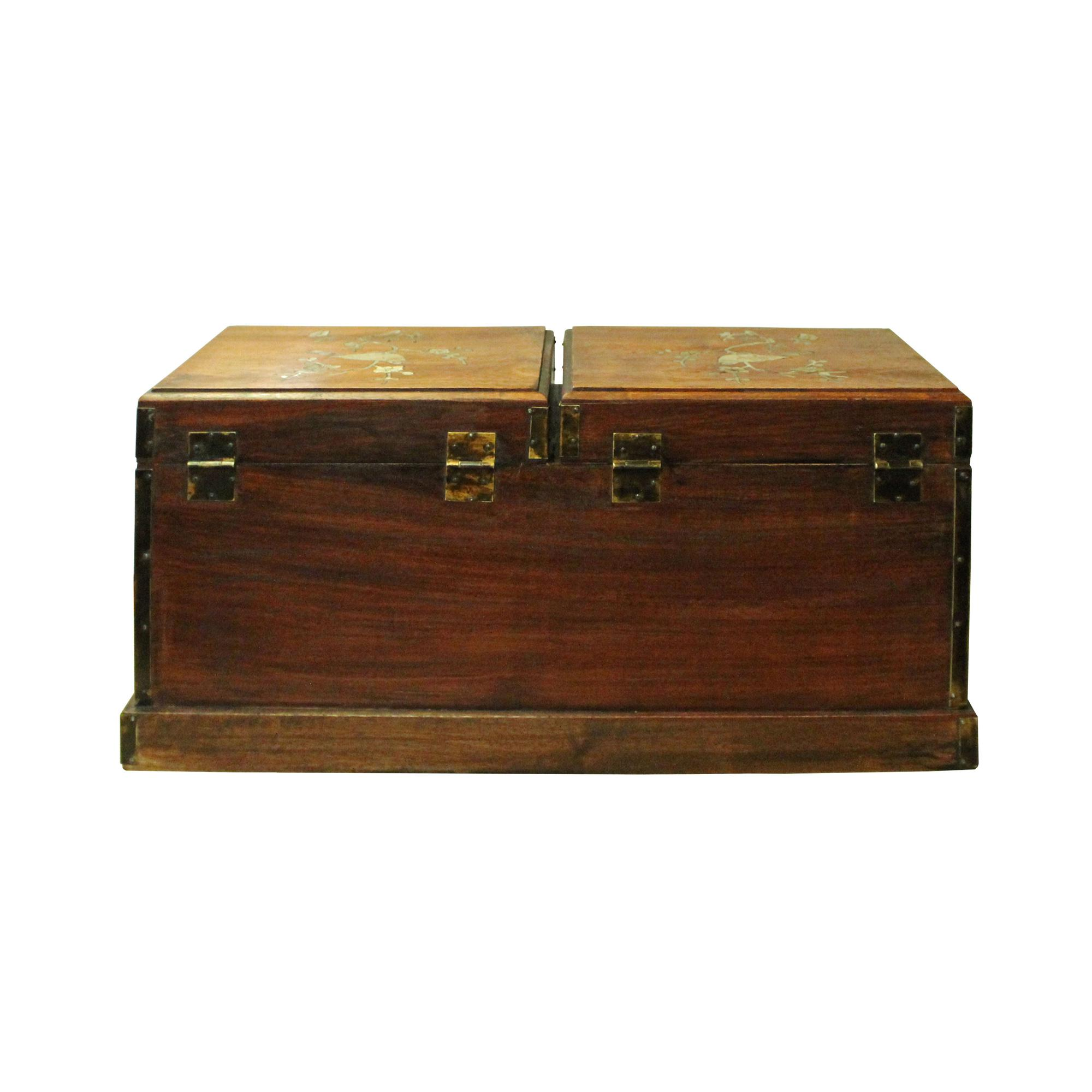 2010s Chinese Huali Rosewood Mother Of Pearl Inlay Jewelry Storage Box  Chest For Sale   Image