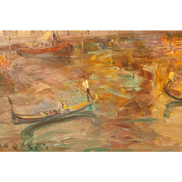 Oil Painting of Venice Harbor by T.L. Novaretti - Image 8 of 9