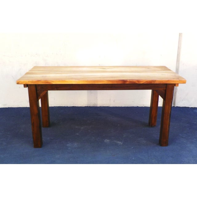 Contemporary Rustic Wood Grain Slab Minimalist Dining Table Desk For Sale - Image 3 of 4