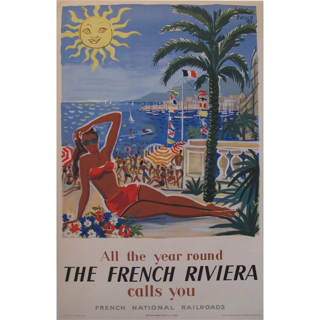 1949 Original French Riviera Travel Poster - Image 1 of 4