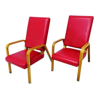 Red Vinyl Thonet Bent Wood Arm Lounge Chairs- a Pair For Sale