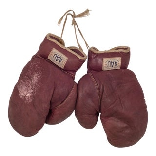 A.a.u. Leather and Horse Hair Boxing Gloves C. 1930 For Sale