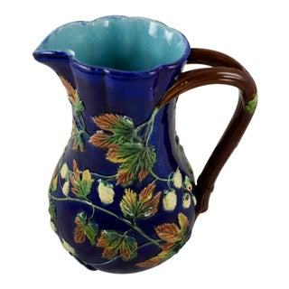 Royal Worcester English Majolica Cobalt Hops Pitcher