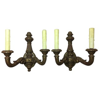 Pair of Spanish Two-Light Carved Wood Sconces, Early 20th Century For Sale