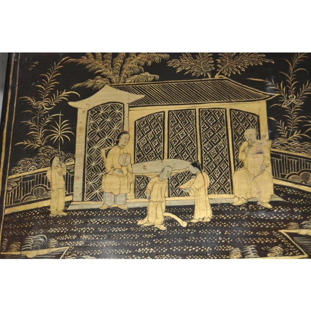 19th Century Chinoiserie Black Lacquered & Gold Nesting Tables - Set of 4 For Sale - Image 4 of 10