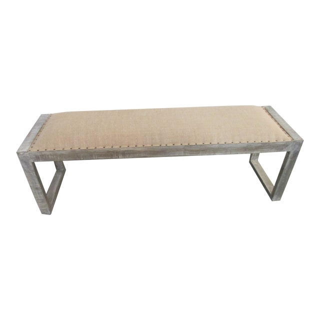 Mid-Century Modern Style Linen Upholstered Bench For Sale