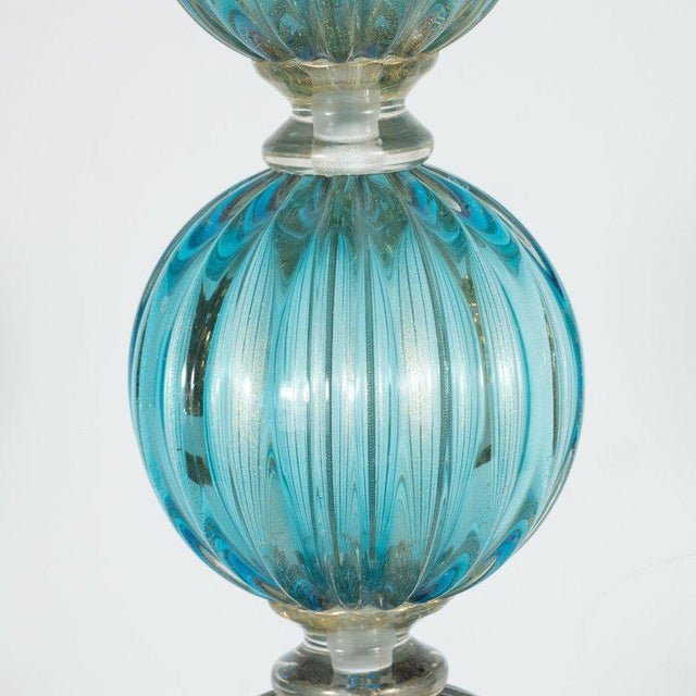 Modernist Ribbed and Banded Turquoise With 24kt Gold Flecks Table Lamps - a Pair For Sale - Image 4 of 7