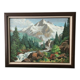 "Large Mid-Century ""Mountains"" Painting by Number For Sale"