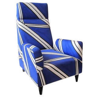 Custom Torino Chair in Hand-Painted Tria Fabric by Livio De Simone For Sale