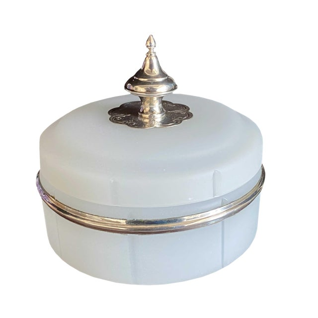 Antique Opaline Box With Silver Finial For Sale - Image 10 of 10