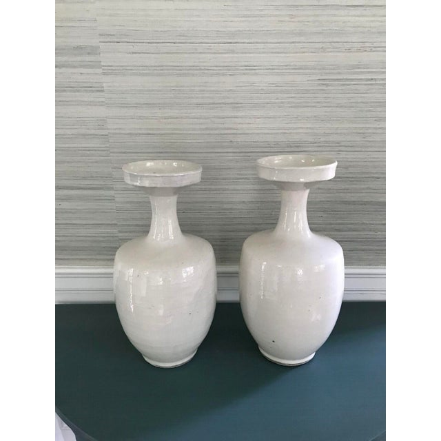 Tall Glazed White Ceramic Urns - A Pair - Image 2 of 6