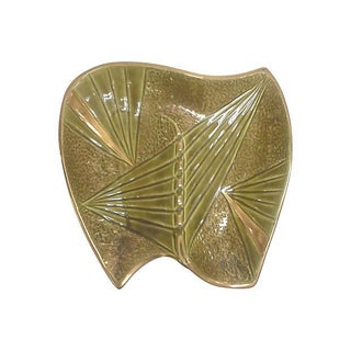 Mid-Century Modern Gilded Olive Green Ceramic Ashtray For Sale