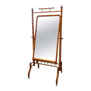 Faux Bamboo Cheval Standing Mirror, France, 1880s For Sale