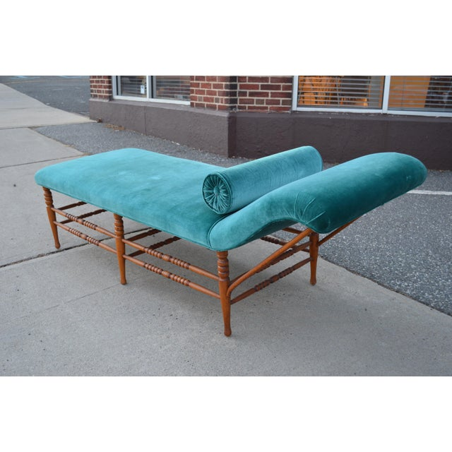 Antique Victorian era chaise lounge. This piece was recently upholstered in a peacock blue velvet. Cherry frame, dating...