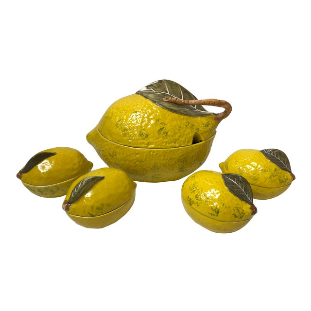 Vintage Italian Lemon Tureen and 4 Matching Soup Bowls For Sale