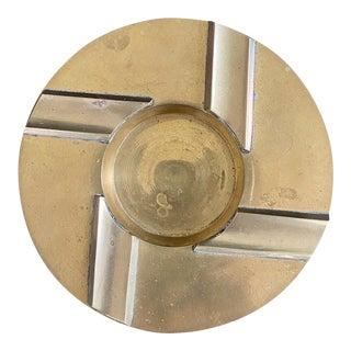 1980s Art Deco Brass Round Catchall/Ashtray For Sale