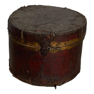 Leather and Iron Round Box, Tibet Circa 1880 For Sale