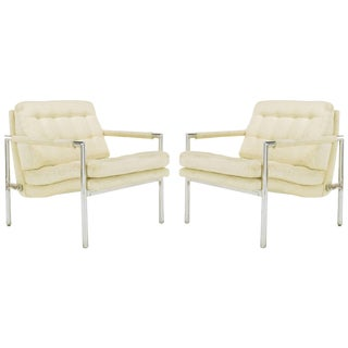 Pair of Polished Aluminum & Linen Lounge Chairs in the Manner of Harvey Probber For Sale