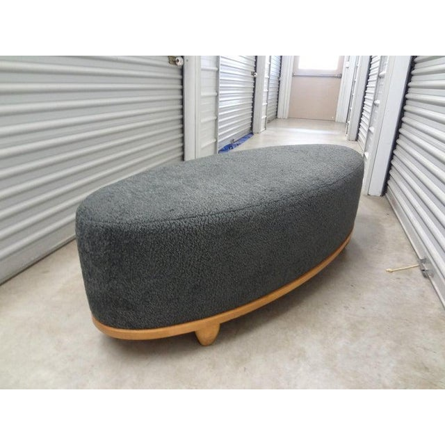 Large Mid-Century Oval Bench Upholstered in Gray Shearling For Sale - Image 12 of 13