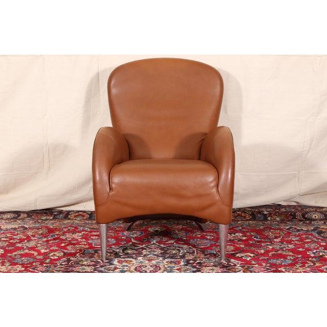Mid-Century Modern Vintage Molinari Tan Leather Armchair For Sale - Image 3 of 11